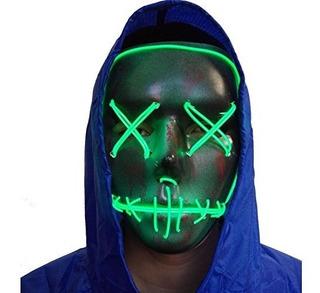Mascara Led Creepy Brilla Luz Halloween Neon Adulto