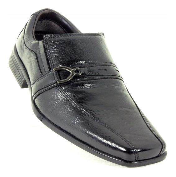 Sapato Social Couro Confort Bertoni Masculino 7100 Preto + Frete Grátis