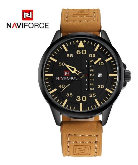 Relógio Masculino Naviforce Couro Calendário Promoção Barato