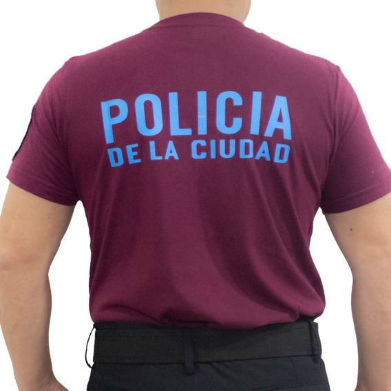 Remera Bordo Policía De La Ciudad Estampada