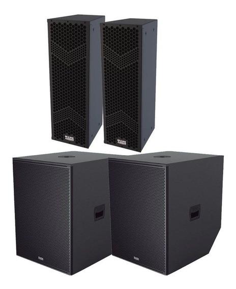 Kit Mark Audio 2 Lines Hmk6 + 2 Sub Mks1810 + 2 Extensores