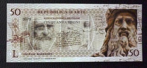Italia Billete 50 Leoni Unc 2018 Mona Lisa Davinci Polimero