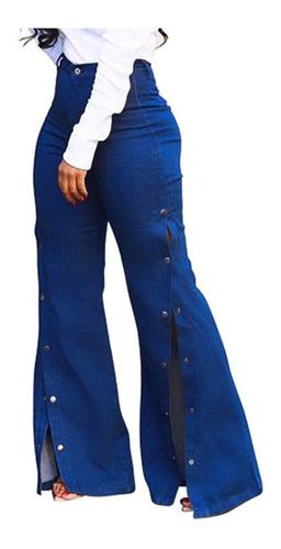 Mujer Cintura Alta Jeans Sueltos Boton Pantalones Pantalones Mercado Libre
