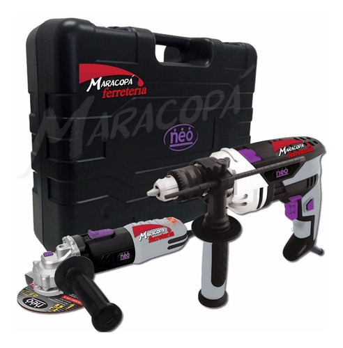 Kit Taladro Percutor 850w + Amoladora 900w Neo Industrial