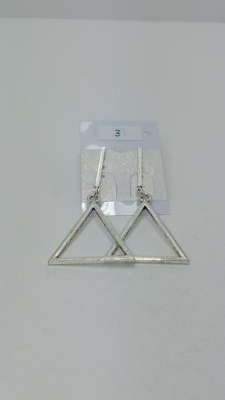 Aros Geometricos Triangular De Zamak Plateado Minimalista