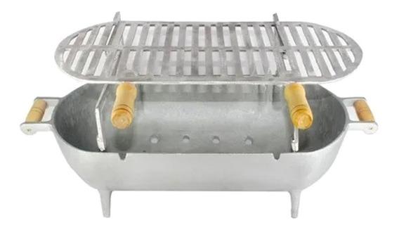 Churrasqueira Alumínio Fundido Completa Porta Espeto E Grelha 56 Cm Com Pé