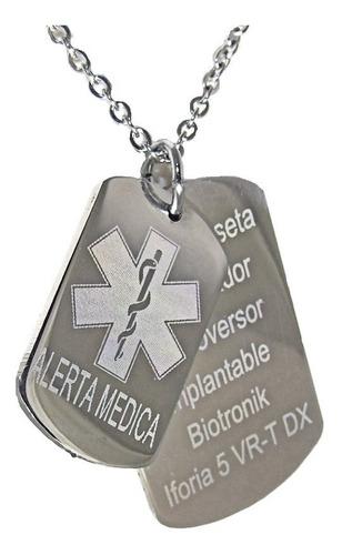 Cadena + Medalla Acero Doble Alerta Médica Identidad Datos