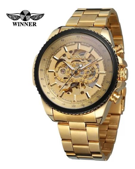 Relógio Automático Masculino Dourado Frete Gratis