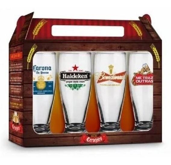Conjunto Kit 4 Copos De Cerveja Frases Sátiras Beer