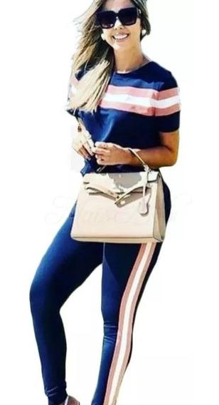Conjunto Listrado Calça E Blusa Crepe Casual Roupas Luxo Top
