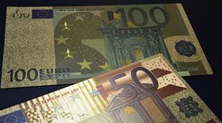 Notas De 50 E 100 Euros Folheada Ouro 24k (coleção, Cédulas)