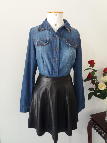 Camisa Blusa Jaqueta Feminina Jeans Acinturada Pérolas