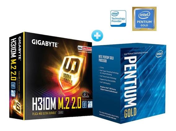 Processador Pentium Lga 1151 Intelgold G5400 3.7ghz 4mb Cache Graf Uhd Ht + Placa Mãe Gigabyte H310m M-atx Ddr4 2666mhz