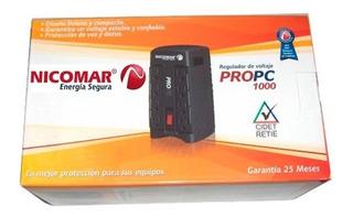 Regulador De Voltaje Nicomar 1000va 120v Estabilizador 8 Tom