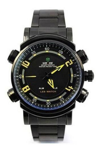 Relógio Masculino Anadigi Weide Wh-1101 Preto E Amarelo