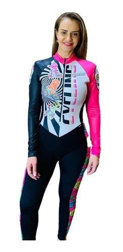 Imagem 1 de 8 de Macacão Ciclismo Feminino Caveira Mexicana M L Original
