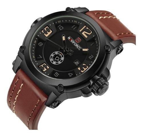 Relógio Naviforce 9099 Prova D'água Masculino Esportivo Militar Pulseira De Couro