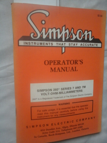 Manual Simpson 260 Series 7 And 7m Volt Ohm
