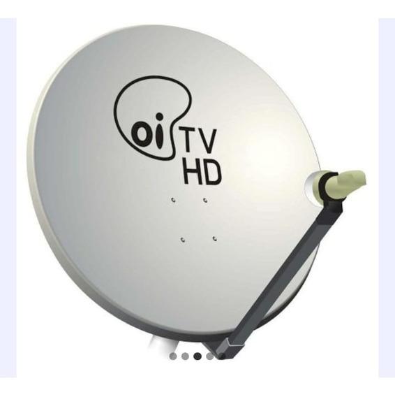Antena Oi Tv Hd 60cm + Lnb Duplo + 17 M Cabos S/ Receptor