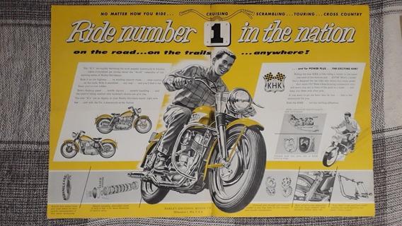 Folder Folheto Propaganda Harley Davidson Kh Khk 1956