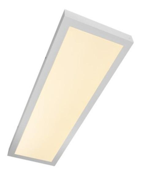 Luminária Led Retangular 30x120 Sobrepor 48w Branco Quente