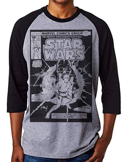 Playera Star Wars Marvel Manga 3/4 Negro Gris $280