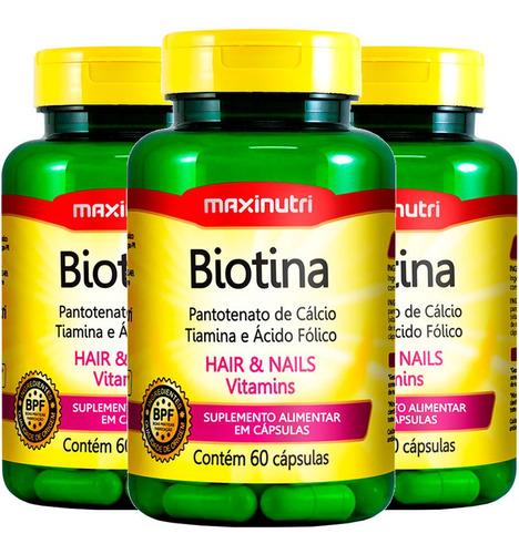 Imagem 1 de 4 de Biotina Firmeza & Crescimento - 3x60 Cápsulas - Maxinutri