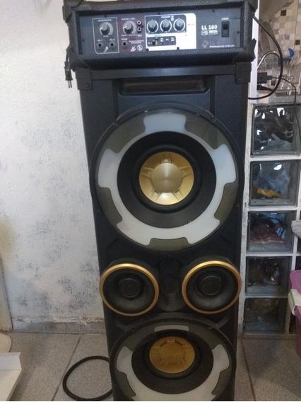 Caixa De Som Com Amplificador Para Dois Microfones 500wts