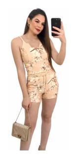 Conjunto Feminino Shorts E Cropped Com Detalhe Tranças