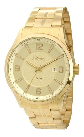 Kit Relógio Masculino Dourado Mais Pulseira Co2315ah/k4x