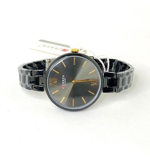 Relógio Curren 9017 Quartzo Elegante Preto