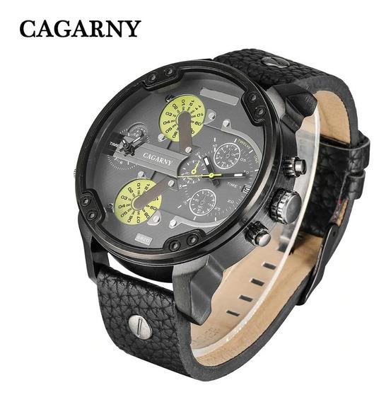 Relógio Masculino Cagarny Prata Pulseira Couro Original