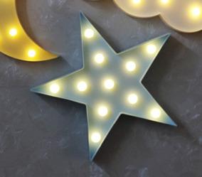 1 Luminoso De Led A Pilha Estrela Azul Bebê 27cm