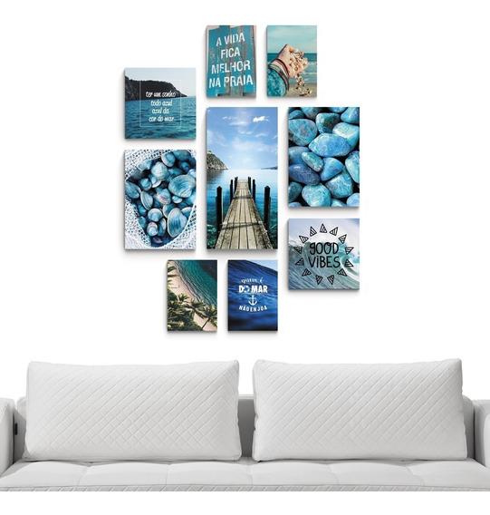 Conjunto 9 Placas Quadros Decorativos Frases Praia Mar Azul