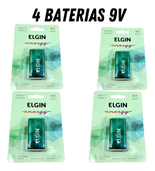 Kit Com 4 Baterias Alcalina 9v Elgin Alta Durabilid/violão