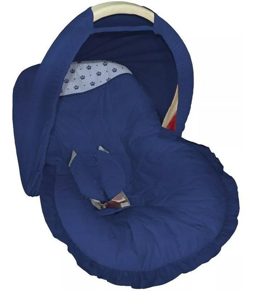 Capa Bebe Conforto Capota Marinho Estampa Coroa Azul Bebê