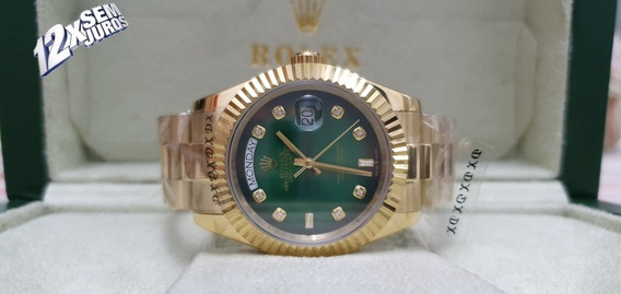 Relógio Mod Day-date Gold Green Marcador Pedras Top 12xs/jrs
