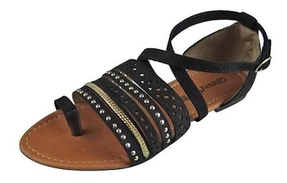 Sandália Com Tiras E Aplique Metalizado - Preta