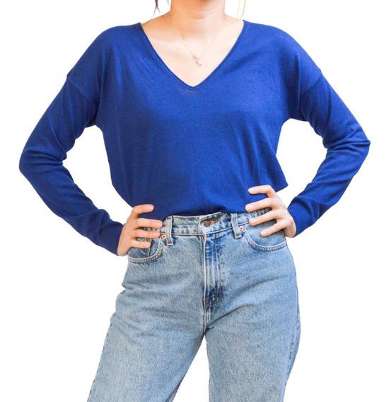 Sweater Azul Cuello V United Colors Of Benetton