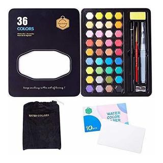 Set Acuarelas Profesionales 36 Colores De Pastilla Arte