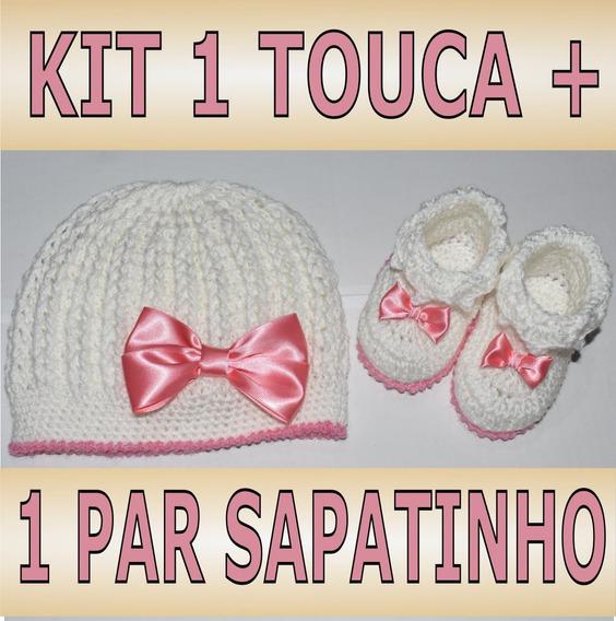 Touca Gorro Bebê + Botinha Menino Ou Menina / Cores Variadas