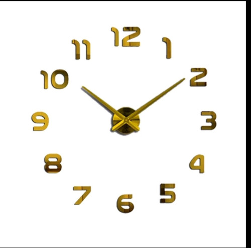 Reloj Pared 3d Palos Dorado Grande  Diseño Moderno 100x100cm