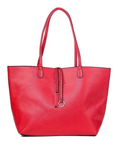 Bolsa Sacola Feminina Shopper Vermelho + Chaveiro Vermelho