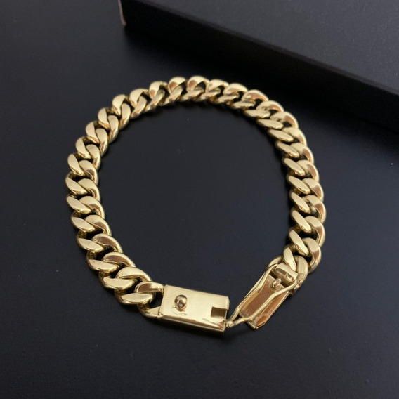 Pulseira Masculina Banhada A Ouro 18k Luxo 10mm Pit Bull