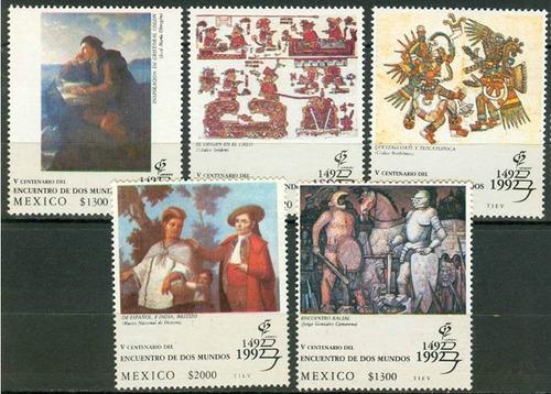 Imagen 1 de 1 de Mexico 1992 Encuentro De Mundos 5 Timbres Set Mint Nh Oportu