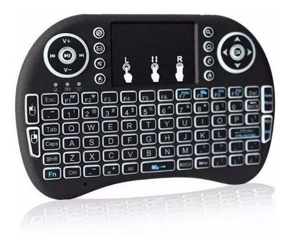 Mini Teclado Sem Fio Com Touchpad Mouse Tvbox Smart Tv Pc Notebook Com Led