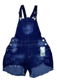 Jardineira Shorts Jeans De Suspensório Feminino Com Lycra