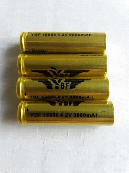 4 Pcs Bateria 4.2v 9800mah Tática Led Recarregável 18650