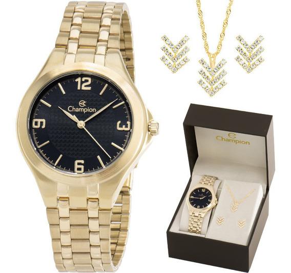 Relógio Champion Feminino Dourado Fundo Preto + Kit
