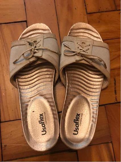 Sandália Usaflex Bege Muito Confortável